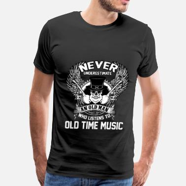 Old Man With A Guitar musician - An old man who listens to old music - Men's Premium T-Shirt