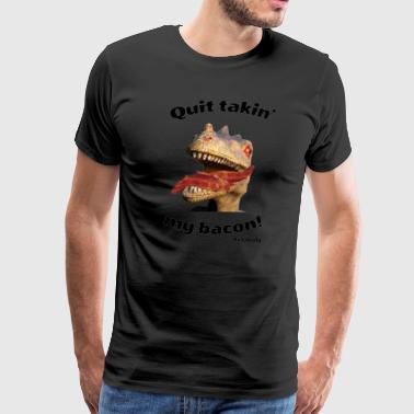 Dinosaur with Bacon in Mouth Keto Carnivore Funny Graphic - Men's Premium T-Shirt