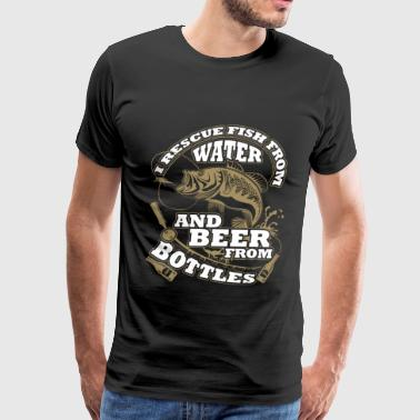 Fishing - I rescue fish from water and beer - Men's Premium T-Shirt