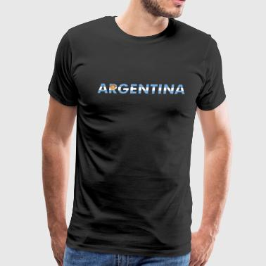Argentina Flag And Lettering with sun - Men's Premium T-Shirt