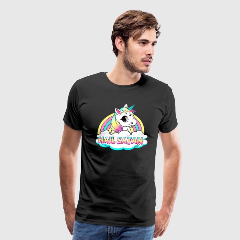 Unicorn hail satan death metal rainbown - Men's Premium T-Shirt