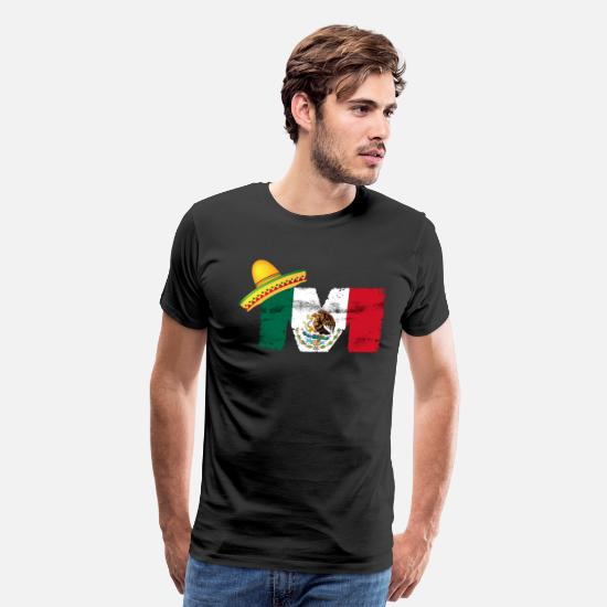 "Mexican T-Shirts - Mexican Mexico Flag ""M"" Is For Mexican - Men's Premium T-Shirt black"