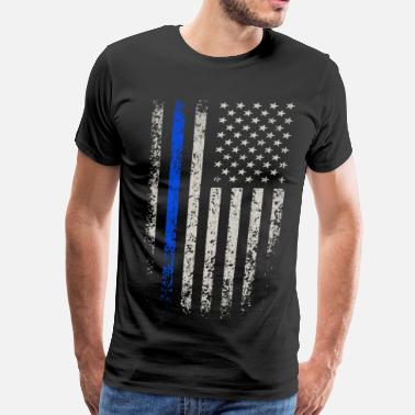 Thin US Flag Blue Line - Men's Premium T-Shirt