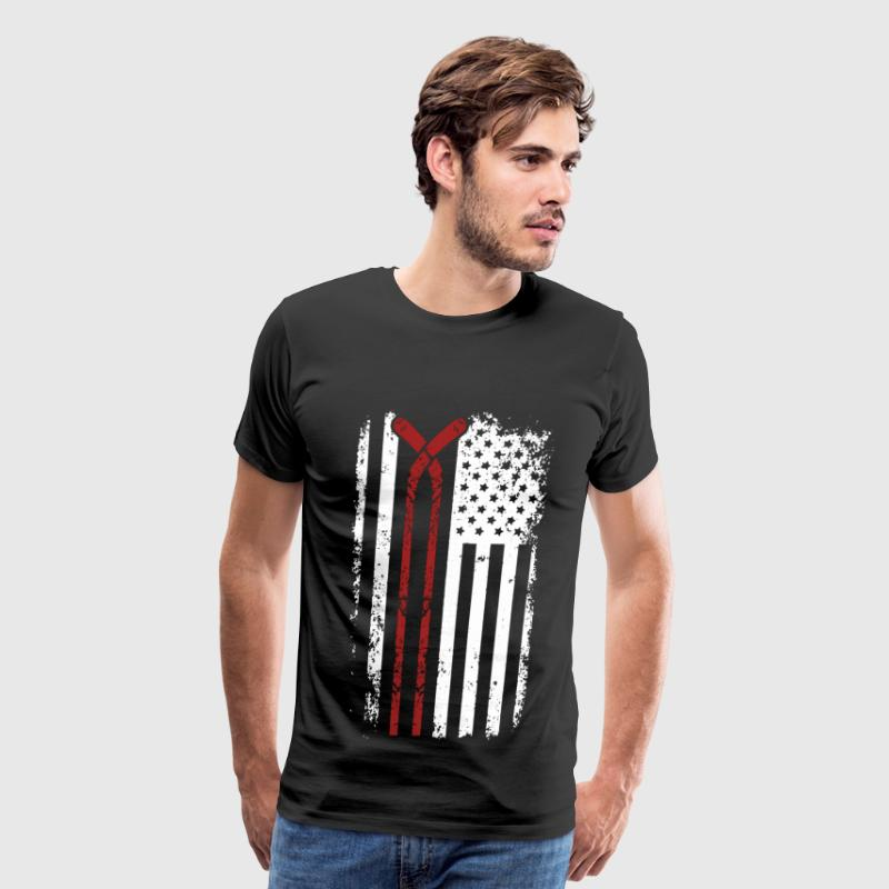 Hockey player - American flag T-shirt - Men's Premium T-Shirt