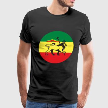 Flag Dub Lion of Judah - Flag of Ethiopia Rastafari Reggae - Men's Premium T-Shirt