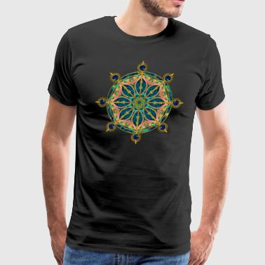 Dharma Wheel - Dharmachakra Gemstone & Gold - Men's Premium T-Shirt