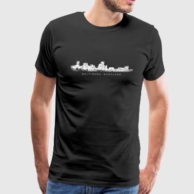 Baltimore, Maryland City Skyline Vintage White - Men's Premium T-Shirt