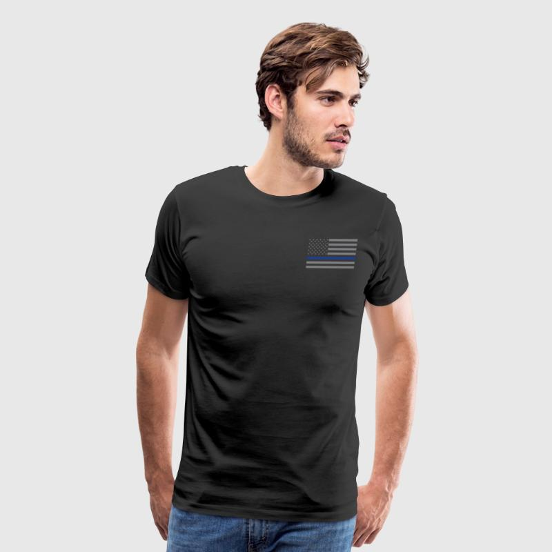 US Flag Police blue line - Men's Premium T-Shirt