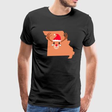 MISSOURI Christmas Hat Antler Red Nose Reindeer - Men's Premium T-Shirt