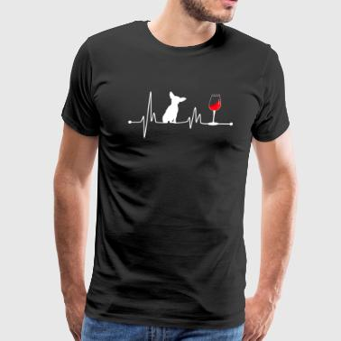 Heartbeat Symbol Heartbeat EKG Pulse Chihuahua and Wine Lover - Men's Premium T-Shirt