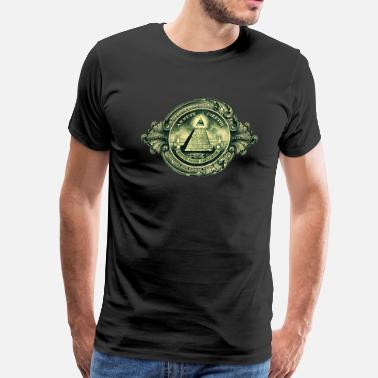 Kabbalah Protective Symbol All seeing eye, pyramid, dollar, freemason, god - Men's Premium T-Shirt