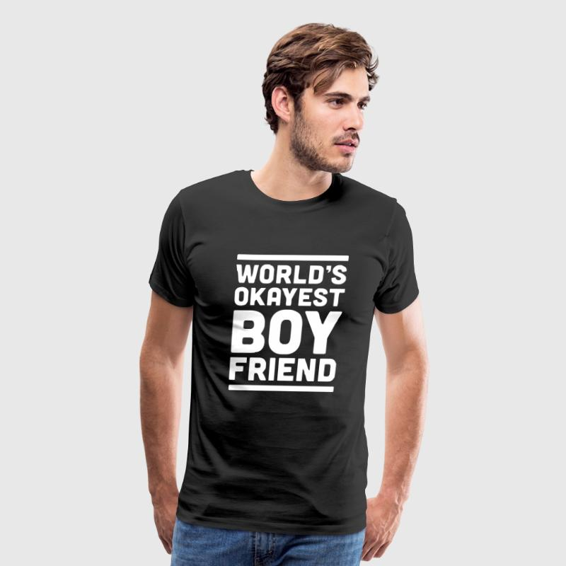 World s Okayest Boyfriend Couple Love Funny - Men's Premium T-Shirt