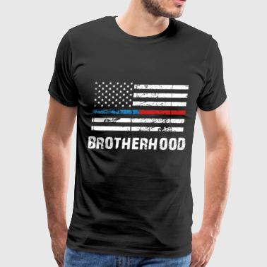 Thin Red Line THIN BLUE RED LINE BROTHERHOOD FLAG FIREFIGHTER - Men's Premium T-Shirt