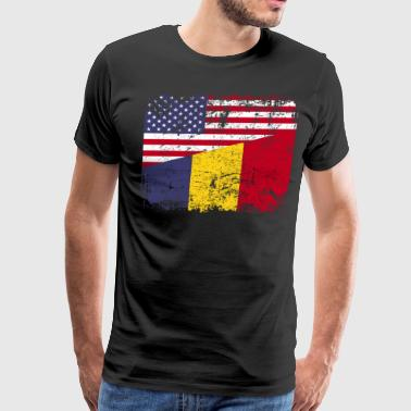ROMANIAN ROOTS | American Flag | ROMANIA - Men's Premium T-Shirt