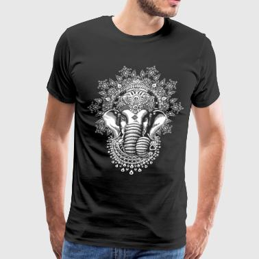 Zen As Fuck Mens Black Ganesh Elephant God Line Art Meditation - Men's Premium T-Shirt