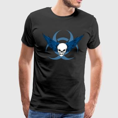 winged skull biohazard (blue) - Men's Premium T-Shirt