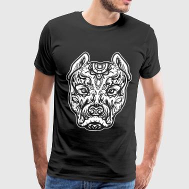 Pitbull Tattoo Art Dog Breed Skull Piston Dtg Pitb - Men's Premium T-Shirt