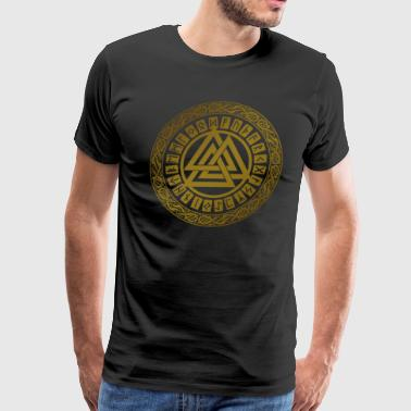 Interlock Gold   Valknut Symbol - Men's Premium T-Shirt