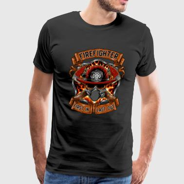 Cool Firefighter First in Last Out Job Gift - Men's Premium T-Shirt