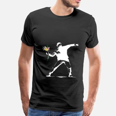 Banksy Flower Thrower White - Unofficial Banksy - Men's Premium T-Shirt