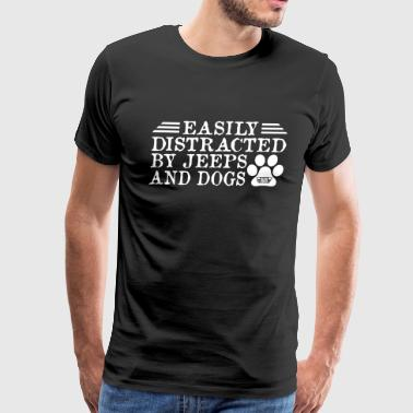 Distracted By Jeeps And Dogs - Men's Premium T-Shirt