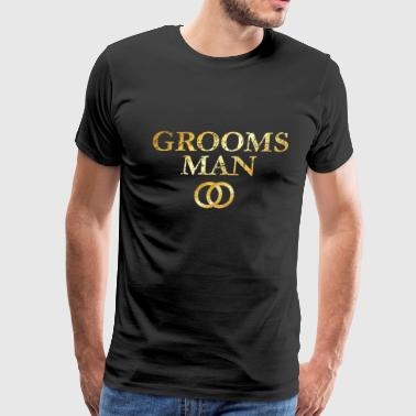 Grooms Man Wedding Rings (Ancient Gold) - Men's Premium T-Shirt
