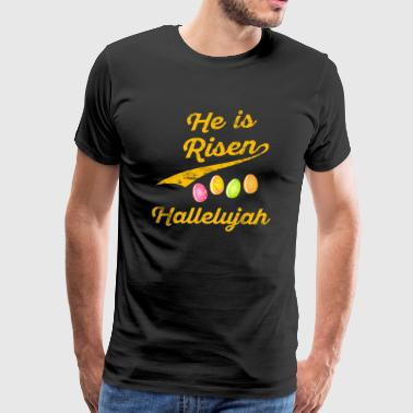 He is Risen Easter Eggs Jesus Christian - Men's Premium T-Shirt
