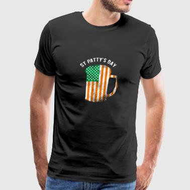 St Patrick's Day American Flag Irish Beer Shamrock - Men's Premium T-Shirt