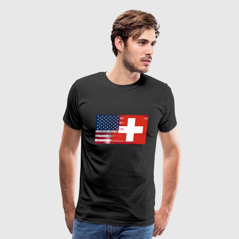 Swiss American Half Switzerland Half America Flag - Men's Premium T-Shirt