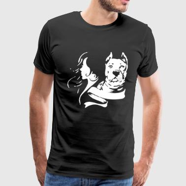 Girl and Pitbull - Men's Premium T-Shirt