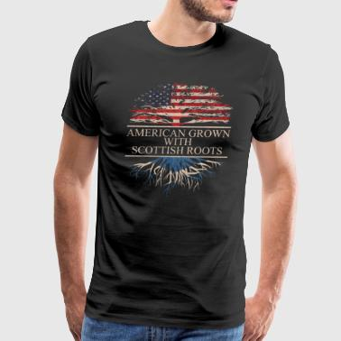 Scottish American Flag American grown with scottish roots - Men's Premium T-Shirt