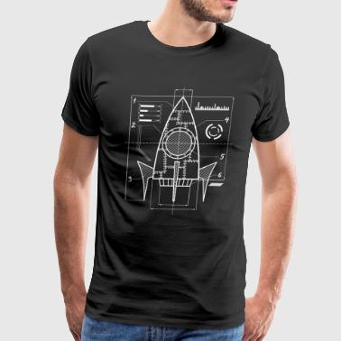 Weightless Spaceship Blueprint | Galaxy Space Astronautics - Men's Premium T-Shirt