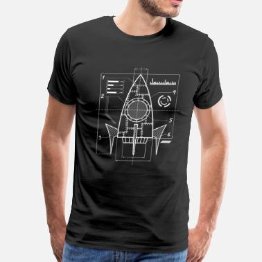 Missions Spaceship Blueprint | Galaxy Space Astronautics - Men's Premium T-Shirt