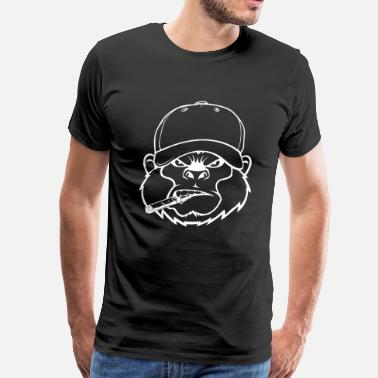 Raging Smoking Gorilla - Mad Monkey - Gorilla - Men's Premium T-Shirt