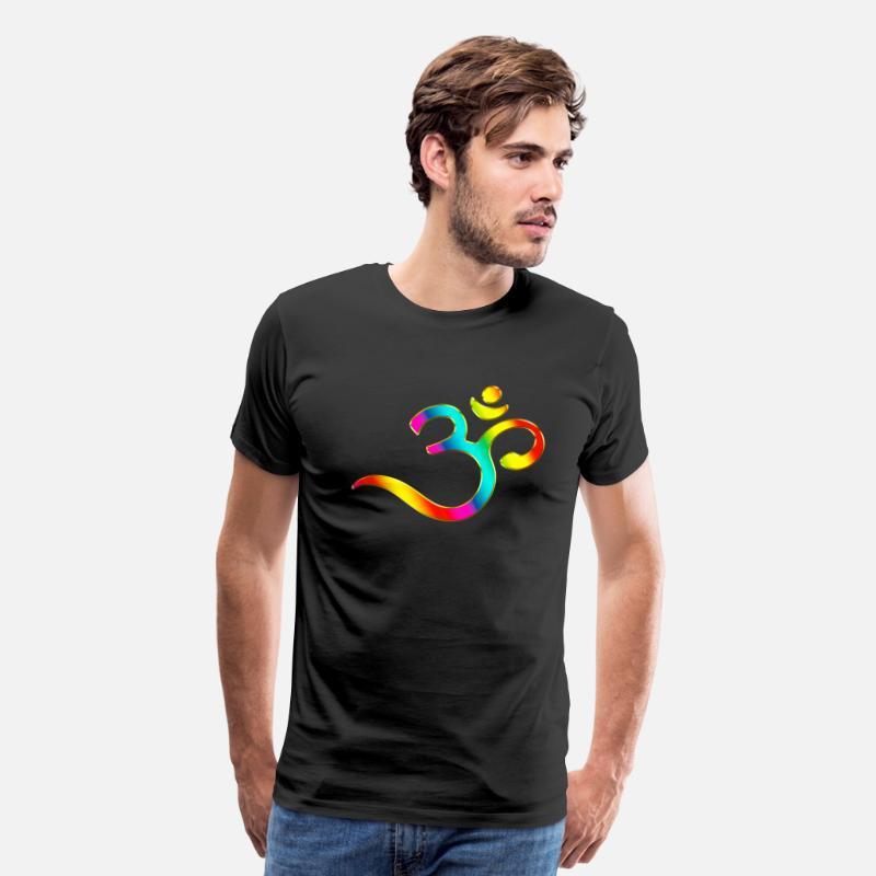 acheter en ligne 588a9 07198 Om, Symbol, Rainbow, Buddhism, Mantra, Meditation, T-shirt ...