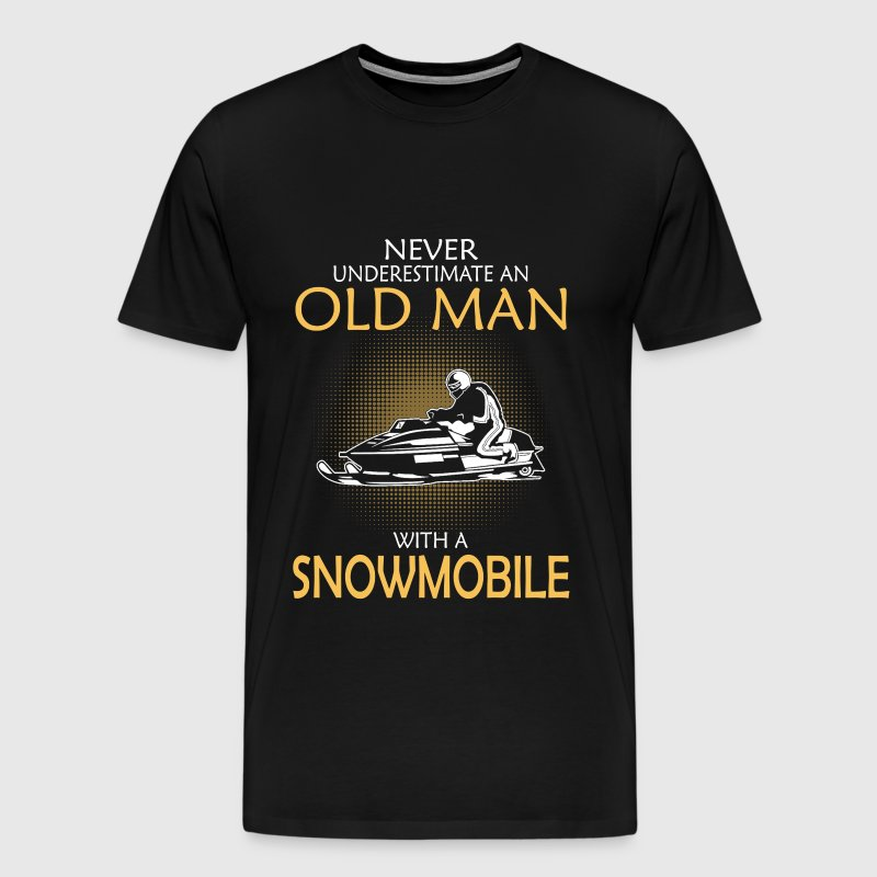 Old man with a snowmobile - Never underestimate - Men's Premium T-Shirt