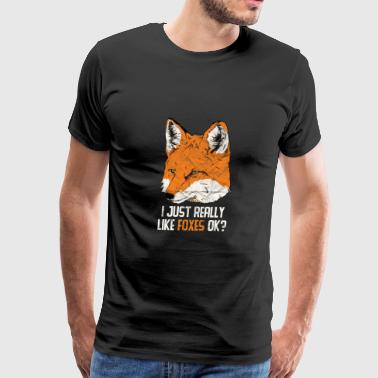 Level Animal Print Gift - I Just Really Like Foxes - Men's Premium T-Shirt