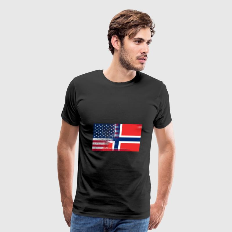 Norwegian American Half Norway Half America Flag - Men's Premium T-Shirt