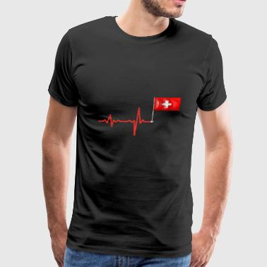 Heartbeat Switzerland flag gift - Men's Premium T-Shirt