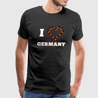 I love Germany with heart colorful footballs white - Men's Premium T-Shirt