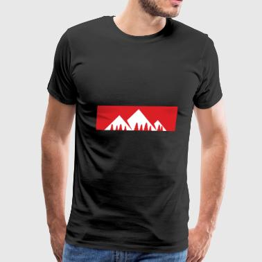 Red Bar Mountains with firs - Men's Premium T-Shirt