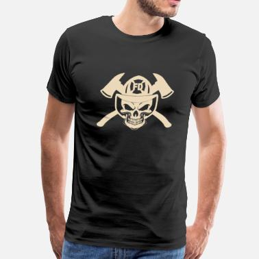Skull Fireman Firefighter cheap firefighter firefighter humor  - Men's Premium T-Shirt