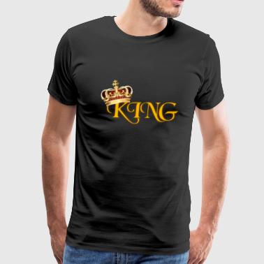 Gold King Crown GOLD KING CROWN WITH YELLOW LETTERING - Men's Premium T-Shirt