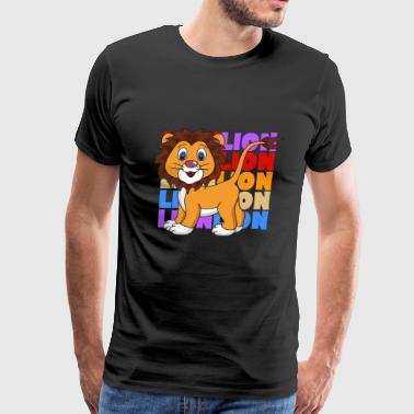 Retro Vintage Pop Art Style Lion Africa - Men's Premium T-Shirt