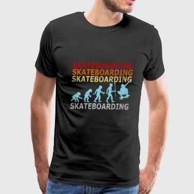 Retro Vintage Evolution Skateboarding Skateboarder - Men's Premium T-Shirt