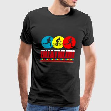 duathlon colorful runner biker gift idea - Men's Premium T-Shirt