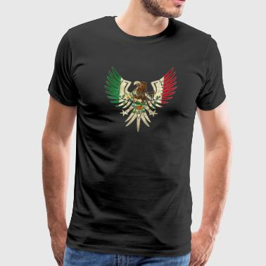 Eagle Mexican Design With Mexican Flag Design For Mexican Pride Outlined - Men's Premium T-Shirt