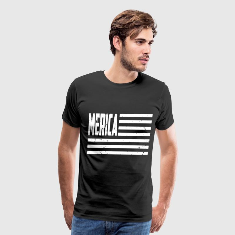 Merica White American Flag Patriotic - Men's Premium T-Shirt