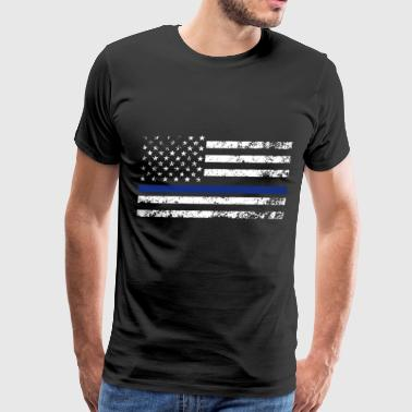 Black Support The Police Distressed Thin Blue Line - Men's Premium T-Shirt