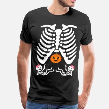 0c2fc467c Pregnant Halloween Skeleton Twins Girl Costumes Ts - Men's Premium T-Shirt